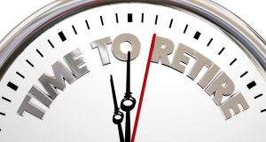 analog clock that says time to retire